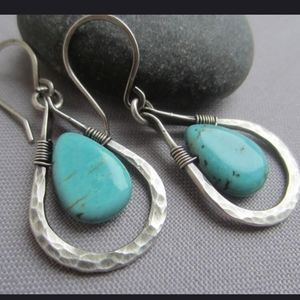 925 Sterling Silver wire wrapped hammered earrings